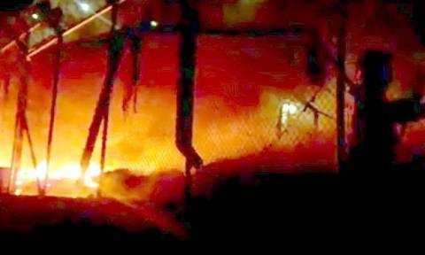 Μυτιλήνη: Ένταση στο Κέντρο Υποδοχής Μεταναστών - Έβαλαν φωτιά σε κοντέινερ
