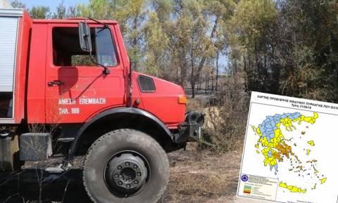 Πορτοκαλί συναγερμός! Ο χάρτης πρόβλεψης κινδύνου πυρκαγιάς για την Τρίτη 21/6 (pic)