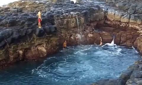 Τρομακτικό βίντεο: Βουτιά στην «πισίνα του θανάτου»