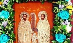 Η θαυματουργός εικόνα των Αγίων Αναργύρων στη Λάρισα
