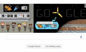 Αφιερωμένο το σημερινό Doodle της Google στην άφιξη του διαστημόπλοιου Juno στον Δία!