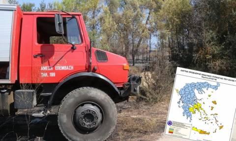 Πορτοκαλί συναγερμός! Ο χάρτης πρόβλεψης κινδύνου πυρκαγιάς για την Πέμπτη 7/7 (pics)