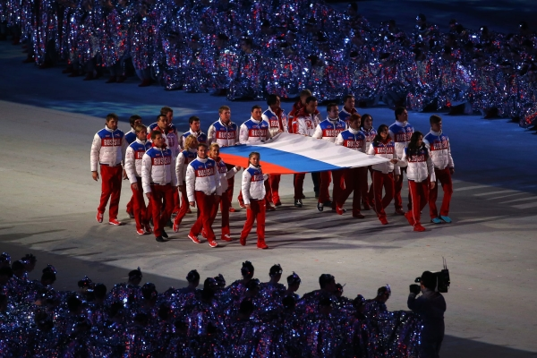 Russian flag carried arena Russian athletes