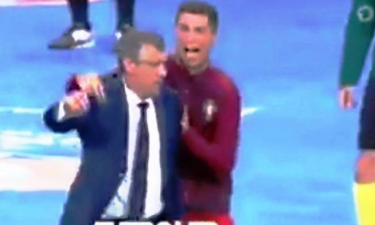 Euro 2016: Έξαλλος… Ρονάλντο σπρώχνει τον Σάντος! (video)