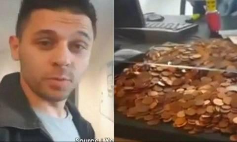 Τρομερός τύπος: Πήγε στην εφορία με 5.100 κέρματα και τους έκανε έξαλλους (video)