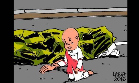 Aρκάς, Latuff, Banksy: Τα σκίτσα για το μακελειό στη Νίκαια συγκλονίζουν