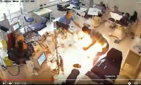 Βίντεο-Φρίκη: Άνδρας σε αμόκ πυρπόλησε ασθενείς σε νοσοκομείο των Τιράνων