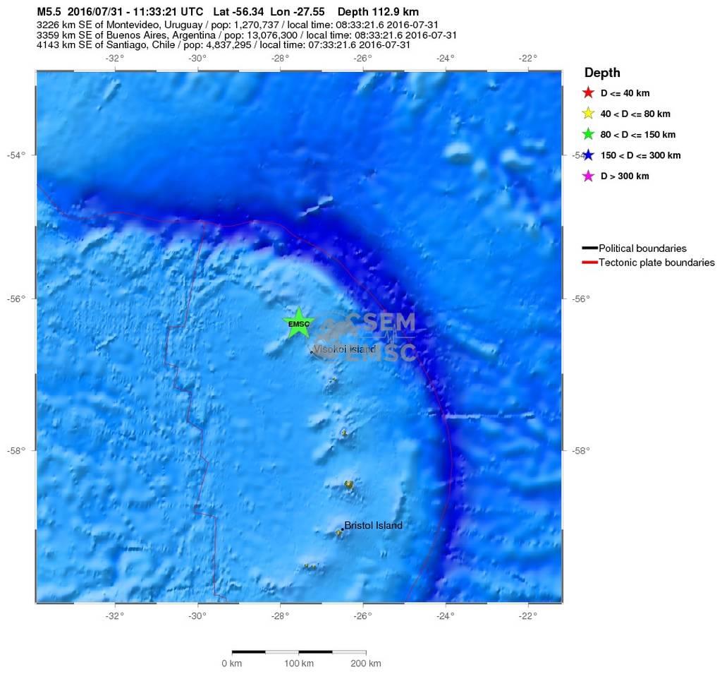 Σεισμός 5,7 Ρίχτερ στα νησιά Σάντουιτς