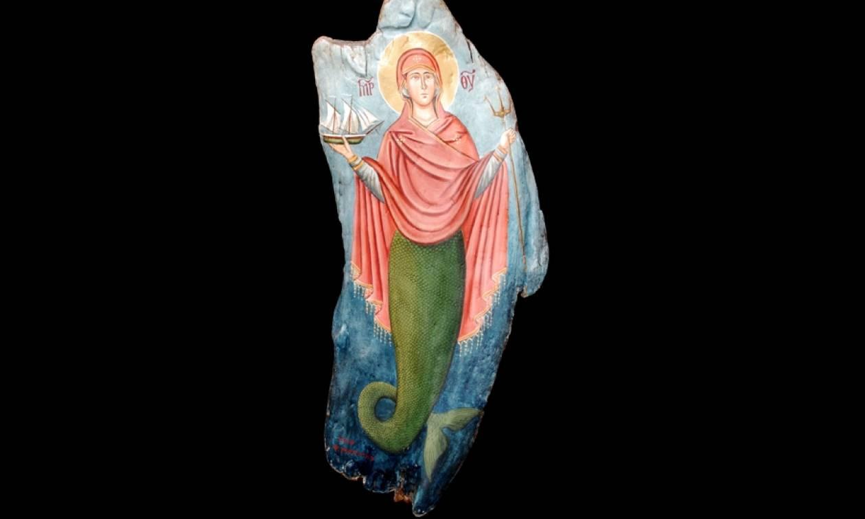 Μοναδική εικόνα με την Παναγία γοργόνα