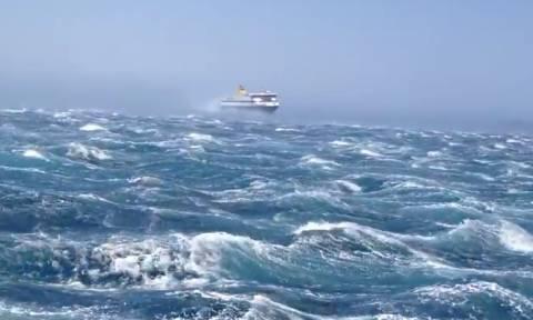 Όταν το Blue Star Naxos δάμασε τα 10 μποφόρ στην Τήνο (video)