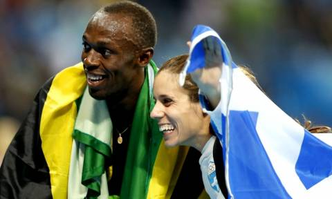 Ρίο 2016: Τι άλλο μετά το χρυσό; Μπολτ και Στεφανίδη πανηγύρισαν μαζί τα μετάλλιά τους! (pics)