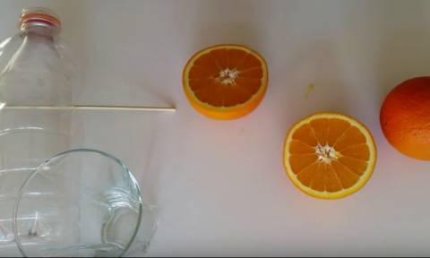 Φοβερό κόλπο για να φτιάξετε στίφτη για πορτοκάλια με δύο πλαστικά μπουκάλια (video)