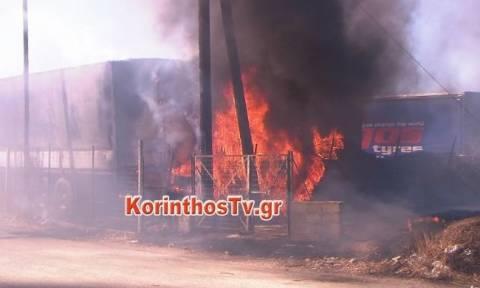 Ισθμός: Φωτιά στην Εθνική οδό