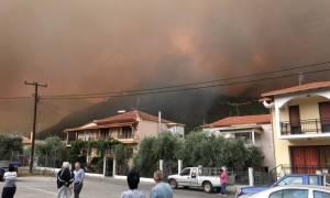 Ανεξέλεγκτη η φωτιά στη Θάσο: Κάηκαν σπίτια, τραυματίστηκε πυροσβέστης και εγκλωβίστηκαν βουλευτές