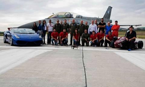 «Πήρε φωτιά» η 110 Πτέρυγα Μάχης: Lamborghini και Formula εναντίον F16! (pics + vid)