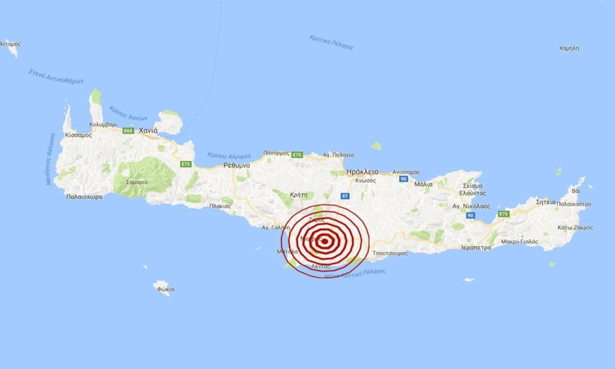 Σεισμός 3,6 Ρίχτερ νότια του Ηρακλείου Κρήτης