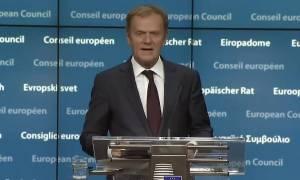 Σύνοδος Κορυφής - Τουσκ: Ανοικτό το ενδεχόμενο κυρώσεων στη Ρωσία - Δεν θα συζητήσουμε για Brexit