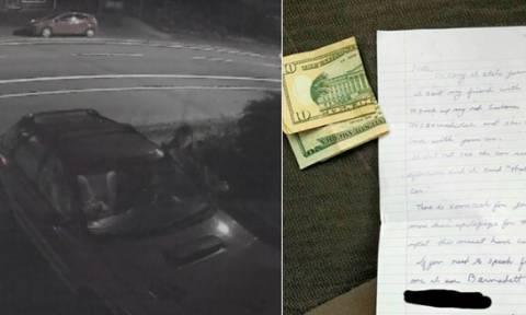 Απίστευτο: Της έπεστρεψαν το κλεμμένο αυτοκίνητο με χρήματα για καύσιμα και ένα... σημείωμα!