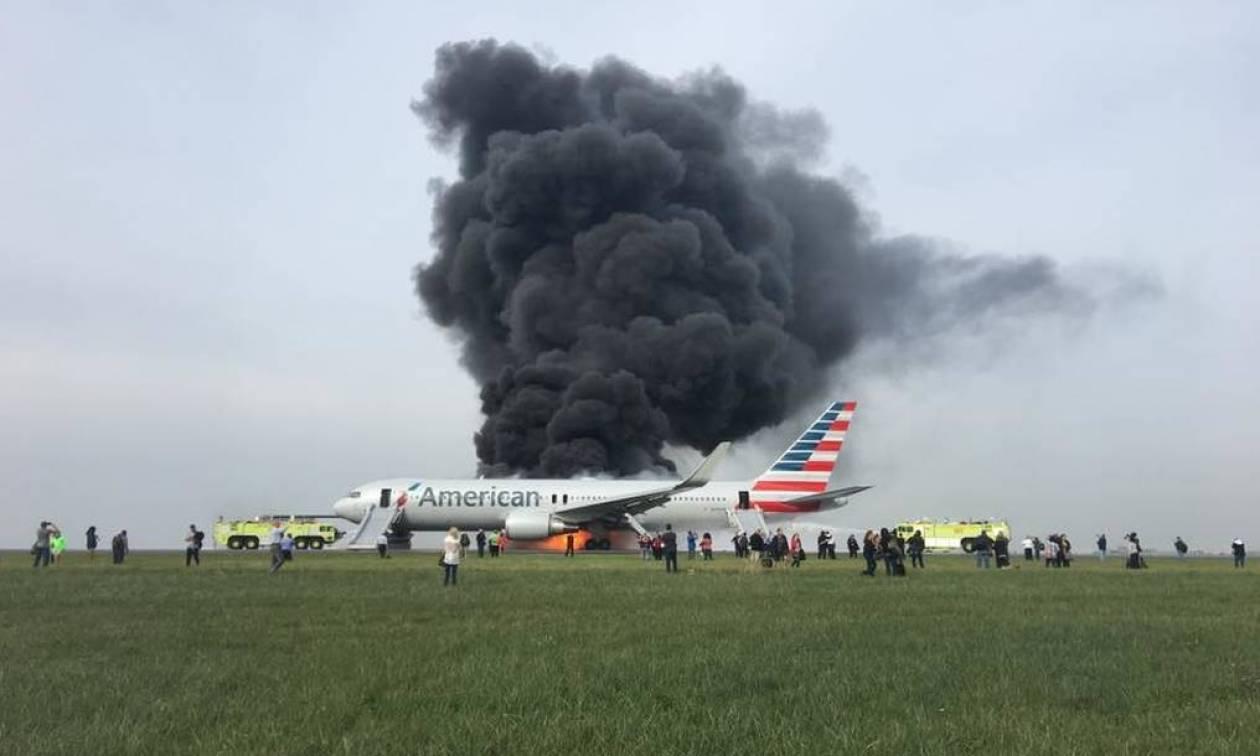 Στιγμές τρόμου μέσα στο φλεγόμενο αεροσκάφος της American Airlines (video)