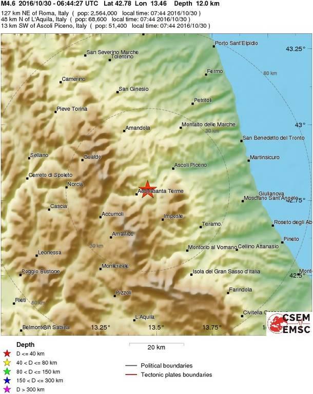 Δεύτερος ισχυρός σεισμός 4,6 Ρίχτερ χτυπά την Ιταλία μέσα σε λίγα μόλις λεπτά