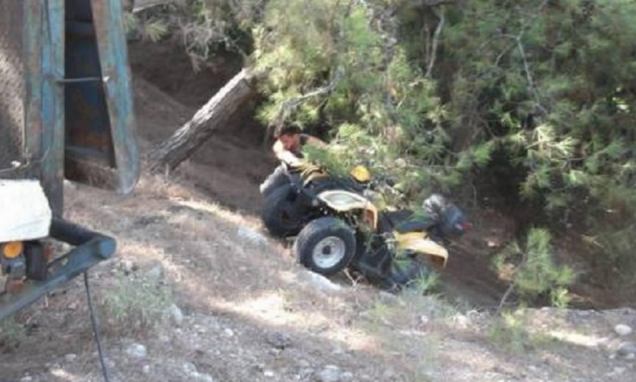 Εφιάλτης για μάνα και κόρη στην Κίσσαμο - Έπεσαν με «γουρούνα» σε γκρεμό 6 μέτρων!