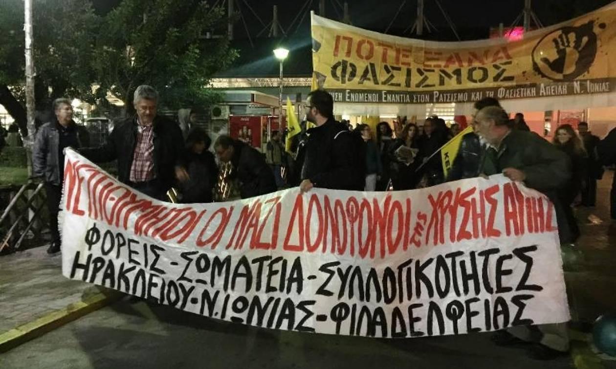 Αντιφασιστική πορεία στο Ν. Ηράκλειο (pics)