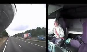 Βίντεο σοκ: Οδηγός φορτηγού έπαιζε με το κινητό του και ξεκλήρισε οικογένεια (video)