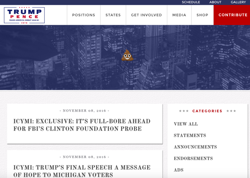 Εκλογές ΗΠΑ 2016: Χάκαραν την ιστοσελίδα του Ντόναλντ Τραμπ (Pics)