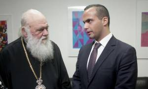 Συνάντηση του Αρχιεπισκόπου Ιερώνυμου με τον Ελληνα συνεργάτη του Τραμπ, Γ. Παπαδόπουλο