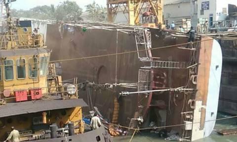 Τραγωδία σε ναυπηγείο: Ανετράπη πλοίο - Τουλάχιστον δύο νεκροί (pics)