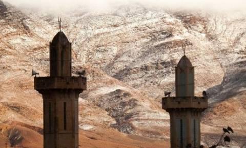 Η Αθήνα μπορεί να περιμένει... Χιόνισε και το έστρωσε στη Σαχάρα (photo)