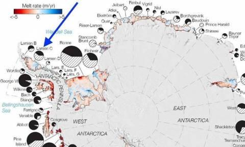 Παγκόσμιος συναγερμός: Παγόβουνο μεγαλύτερο από την Εύβοια έτοιμο να αποκολληθεί από την Ανταρκτική