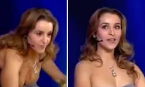 Χαμός στον «Τροχό της Τύχης»: Παίκτρια αποκάλυψε το στήθος της στον αέρα (video)