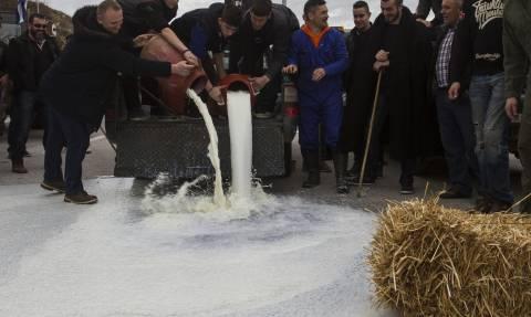 Μπλόκα αγροτών: Οι κτηνοτρόφοι έχυσαν γάλα έξω από την Περιφέρεια Θεσσαλίας