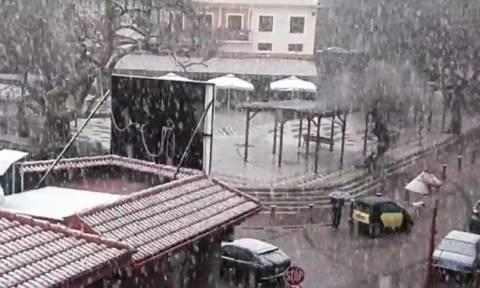 Καιρός: Πρωτοχρονιάτικο... χιόνι στο Καρπενήσι, λίγο πριν το Πάσχα (video)