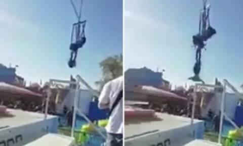 Τρομακτικό ατύχημα σε λούνα παρκ: Έσπασε ιμάντας ασφαλείας και αιωρούνταν στο κενό (vid)