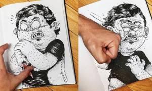 Viral: Η πρωτότυπη μάχη ενός σκιτσογράφου με τις ίδιες του τις δημιουργίες (Pics)