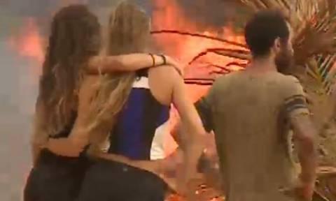 Survivor: Το... έκαψαν το καλυβάκι τους οι Μαχητές (video)