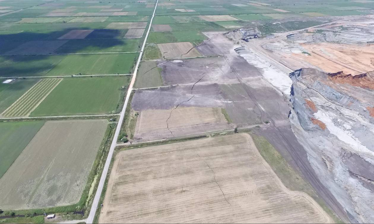 60c6cda573 Αμύνταιο  Άλλαξε ο χάρτης μετά την κατολίσθηση στο ορυχείο της ΔΕΗ (pics+vid