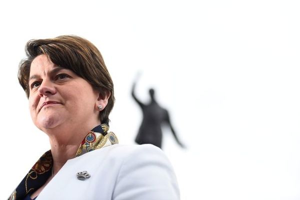 FILE PHOTO Leader of the Democratic Unionist Party Arlene Foster speaks to media outside Stormont P