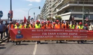 Θεσσαλονίκη: Συγκέντρωση και πορεία μελών του ΠΑΜΕ στο Νατοϊκό Στρατηγείο