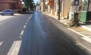 Καιρός – καύσωνας: «Λιώνει» ο δρόμος σε χωριό της Κρήτης (pic)