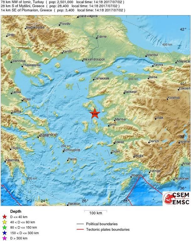 Νέος σεισμός τώρα κοντά στη Μυτιλήνη