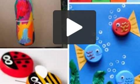 Πήρε πλαστικά καπάκια μπουκαλιών! Αυτά που έφτιαξε για τα παιδιά της θα τα κάνετε αμέσως... (video)