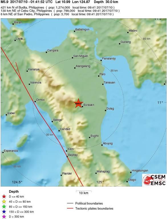 Ισχυρός σεισμός 5,9 Ρίχτερ συγκλόνισε τις Φιλιππίνες