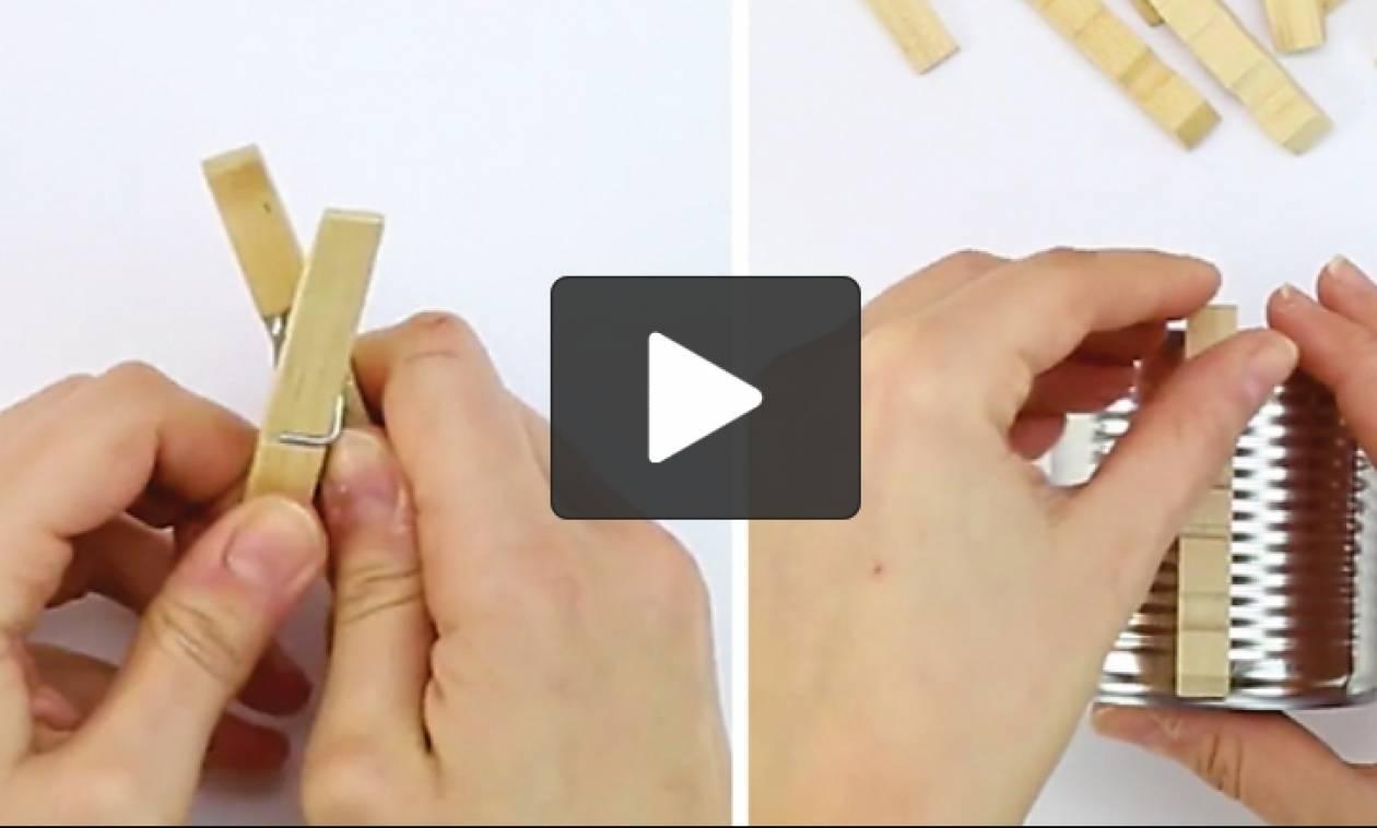 Πήρε ξύλινα μανταλάκια κι έφτιαξε τον δικό της φανταστικό κήπο (video)