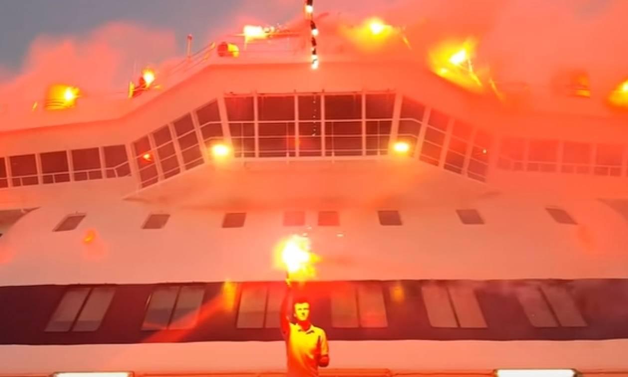 O εντυπωσιακός «χαιρετισμός» του Νήσος Μύκονος στην Αγία Παρασκευή της Χίου (video)