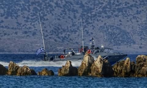 Frontex vessel rescues refugees in the sea region of Kastellorizo