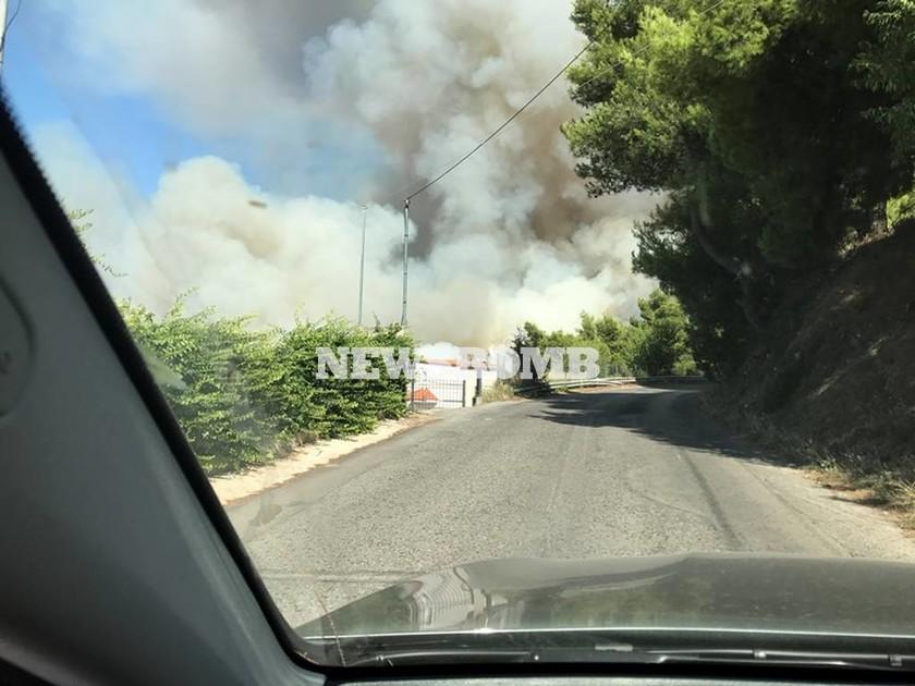 Μεγάλη φωτιά ΤΩΡΑ στον Κάλαμο κοντά σε σπίτια