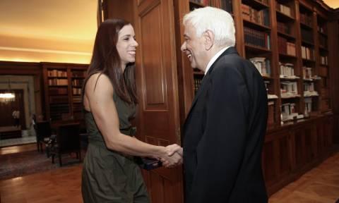 Θερμή υποδοχή Προκόπη Παυλόπουλου στην Κατερίνα Στεφανίδη